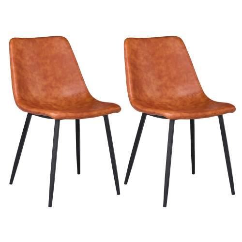 Lot de 2 chaises vintage ÉLIA cognac