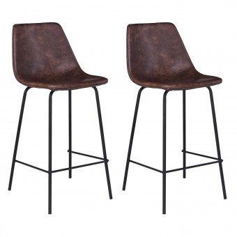 Lot de 2 tabourets de bar vintage LUCIEN marron