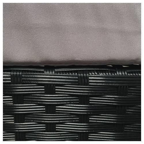 Salon de jardin FIGARI en résine tressée noire 4 places - coussins gris