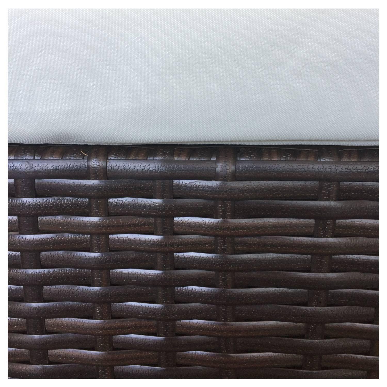 Salon de jardin FIGARI en résine tressée marron 4 places - coussins beige