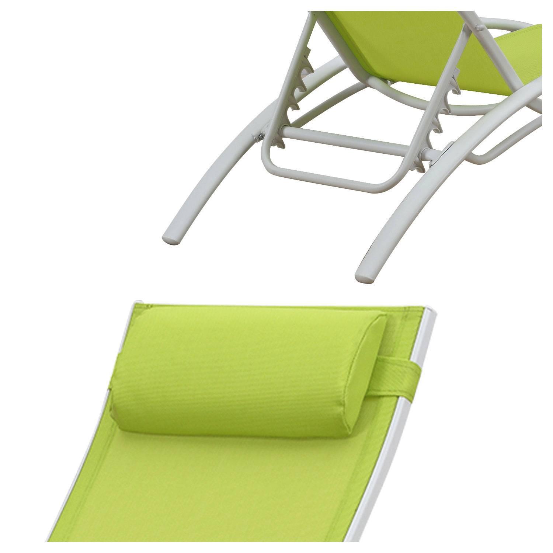 Transat en textilène GALAPAGOS - lot de 2 - textilène vert/structure blanche