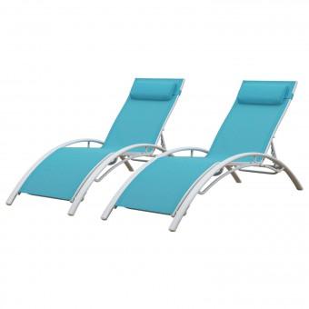 Transat en textilène GALAPAGOS - lot de 2 - textilène bleu/structure blanche