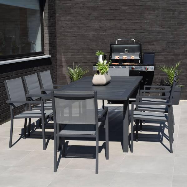Salon de jardin aluminium et textilène extensible gris 8 places