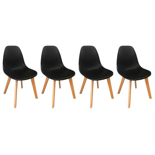 Lot de 4 chaises scandinaves LIV noires