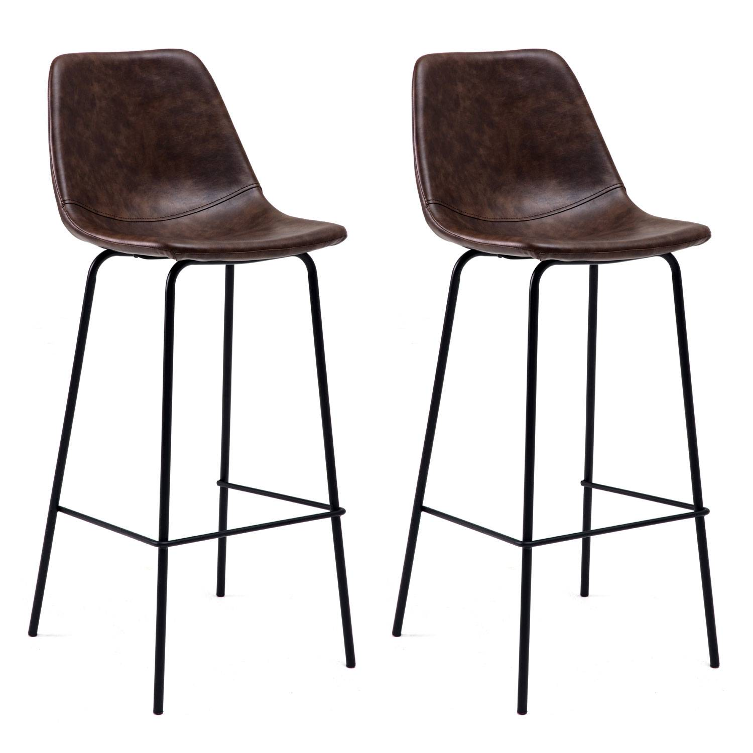 lot de 2 tabourets de bar vintage marron 75cm  lucien