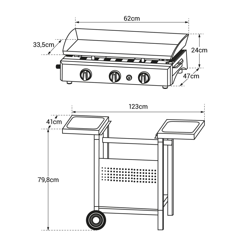 Plancha au gaz SEVILLA - 3 brûleurs 7,5kW + chariot