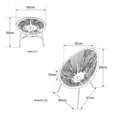 Ensemble de 2 fauteuils oeuf + table ACAPULCO gris