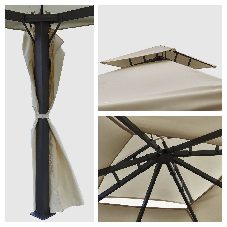 Tonnelle autoportante 3x3m ANTIBES beige - structure aluminium