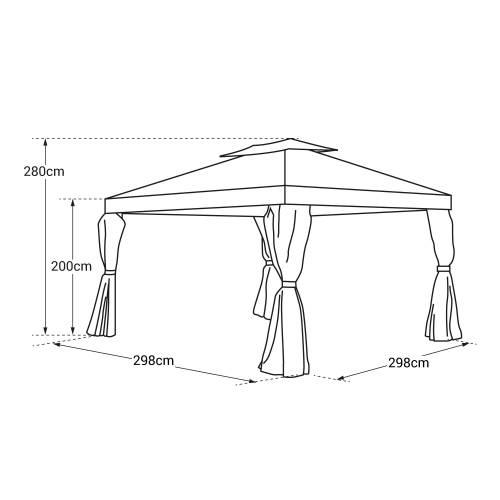 Tonnelle autoportante 3x3m ANTIBES grise - structure aluminium