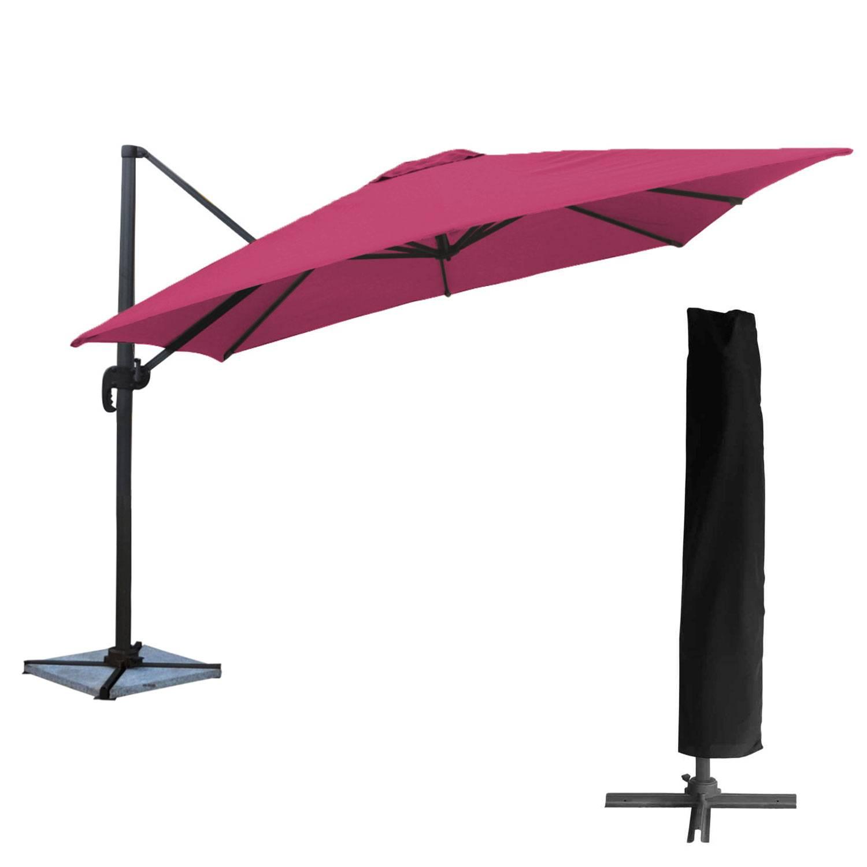 Parasol déporté MOLOKAI carré 3x3m fuchsia + housse