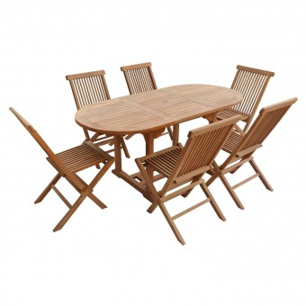 Salon de jardin en teck LOMBOK - table ovale extensible - 6 places