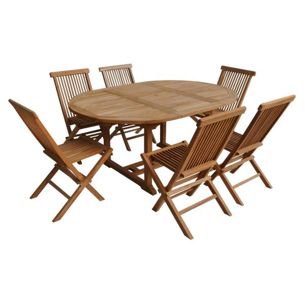 Salon de jardin extensible en teck lombok, table ronde, 6 places