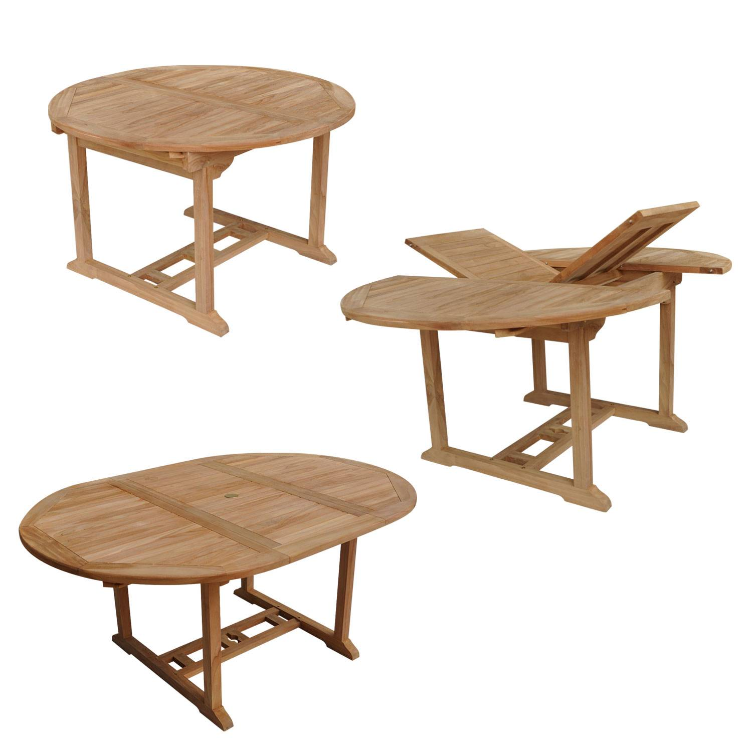 Salon de jardin LOMBOK - table extensible ronde en teck - 6 places