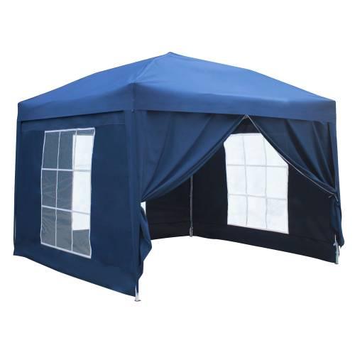 Tente de réception MISTRAL pliante 3x3m Bleu avec panneaux