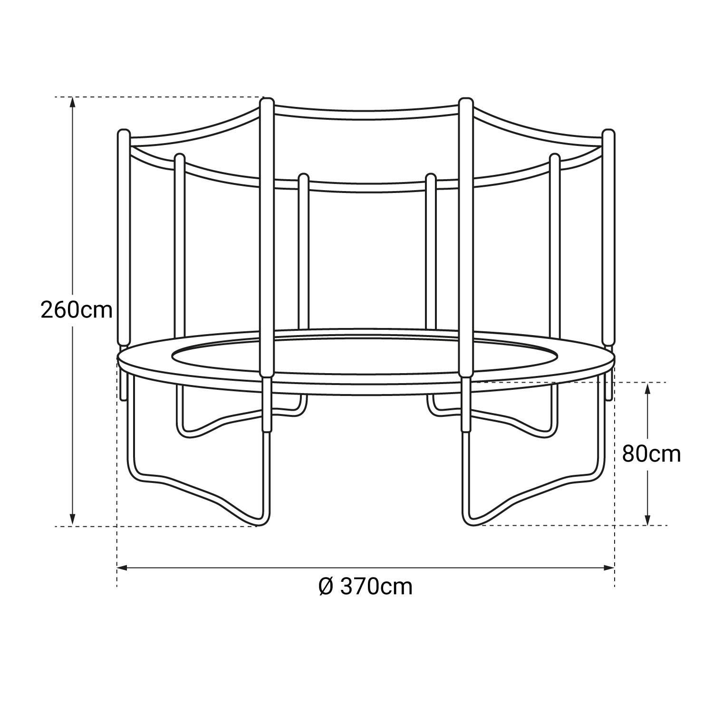 Pack Premium Trampoline 370cm réversible bleu / vert PERTH + filet, échelle, bâche et kit d'ancrage