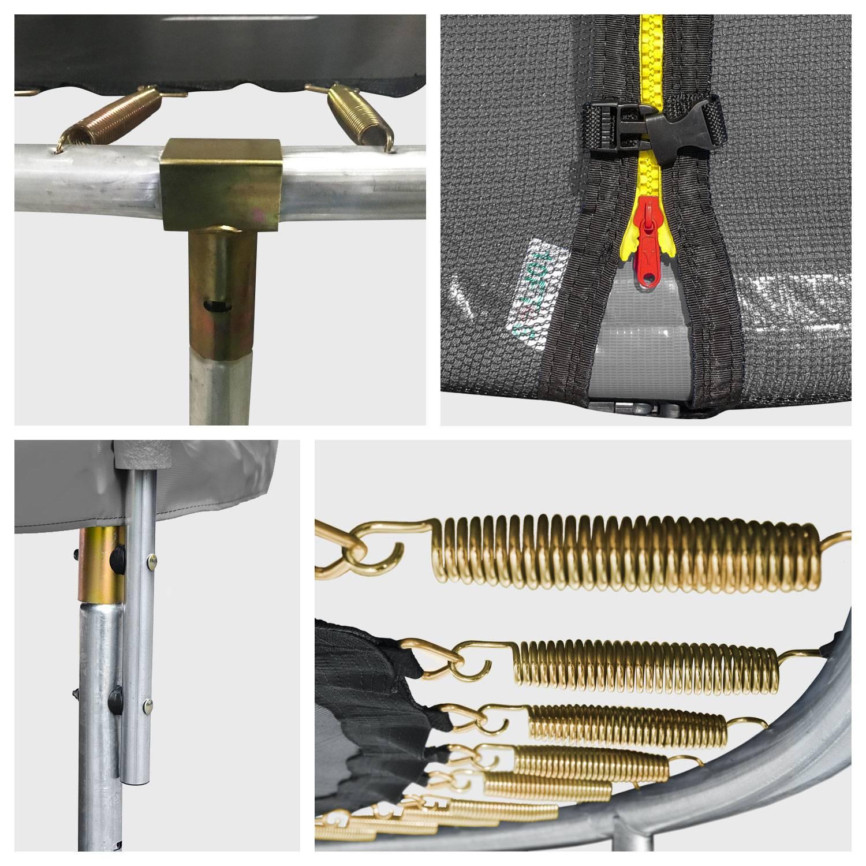 Pack Premium Trampoline 370cm réversible gris / rose PERTH + filet, échelle, bâche et kit d'ancrage