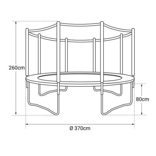 Pack Premium Trampoline 370cm réversible rose / gris PERTH + filet, échelle, bâche et kit d'ancrage