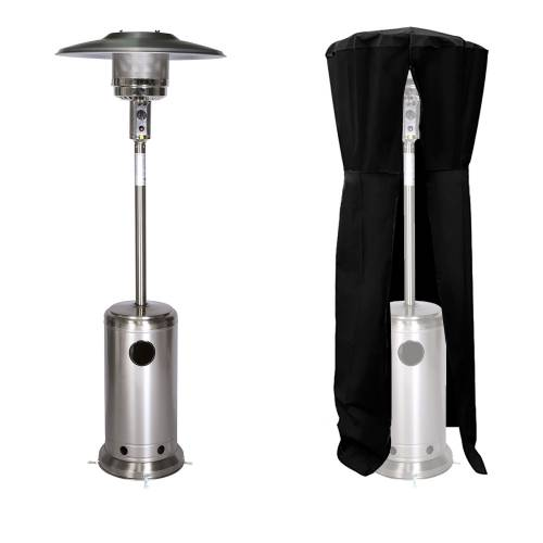 Parasol chauffant OSLO - chauffage d'extérieur gaz 12kW - inox + housse