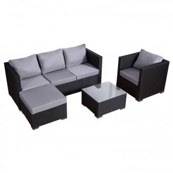 Salon de jardin CARGÈSE en résine tressée noir 4 places - coussins gris