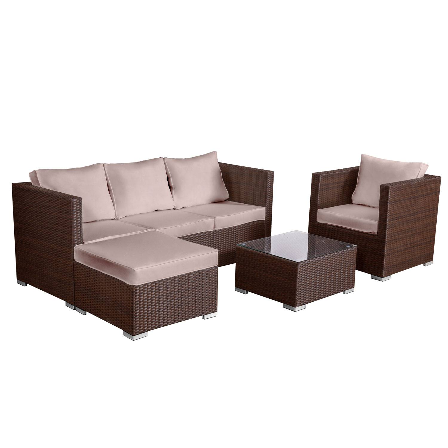 salon de jardin bas r sine tress e marron 4 places carg se. Black Bedroom Furniture Sets. Home Design Ideas