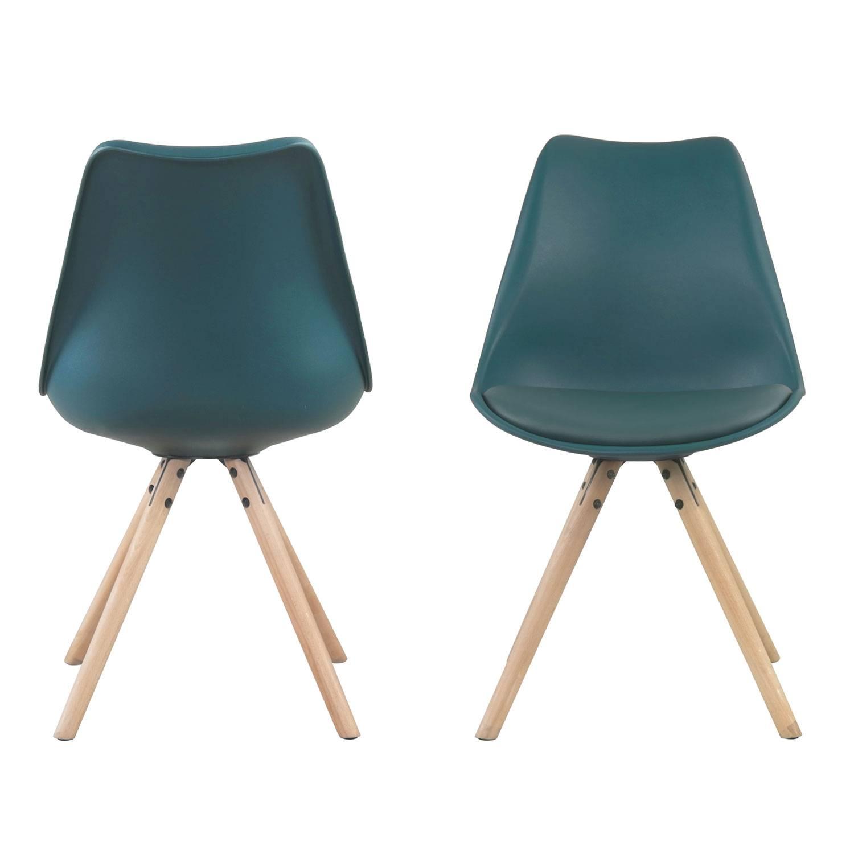Lot de 4 chaises scandinaves ANITA bleues avec coussin