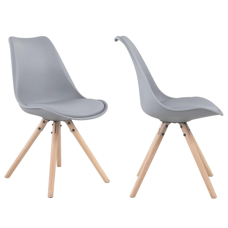 Lot de 4 chaises scandinaves ANITA grises avec coussin