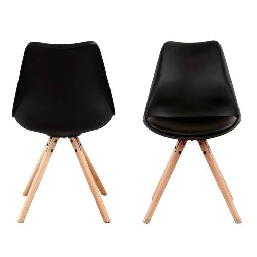 Lot de 4 chaises scandinaves ANITA noires avec coussin
