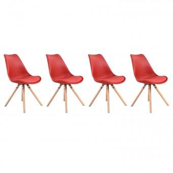 Lot de 4 chaises scandinaves ANITA rouge avec coussin