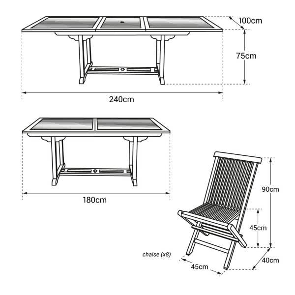 Salon de jardin extensible en teck 8 places, rectangulaire