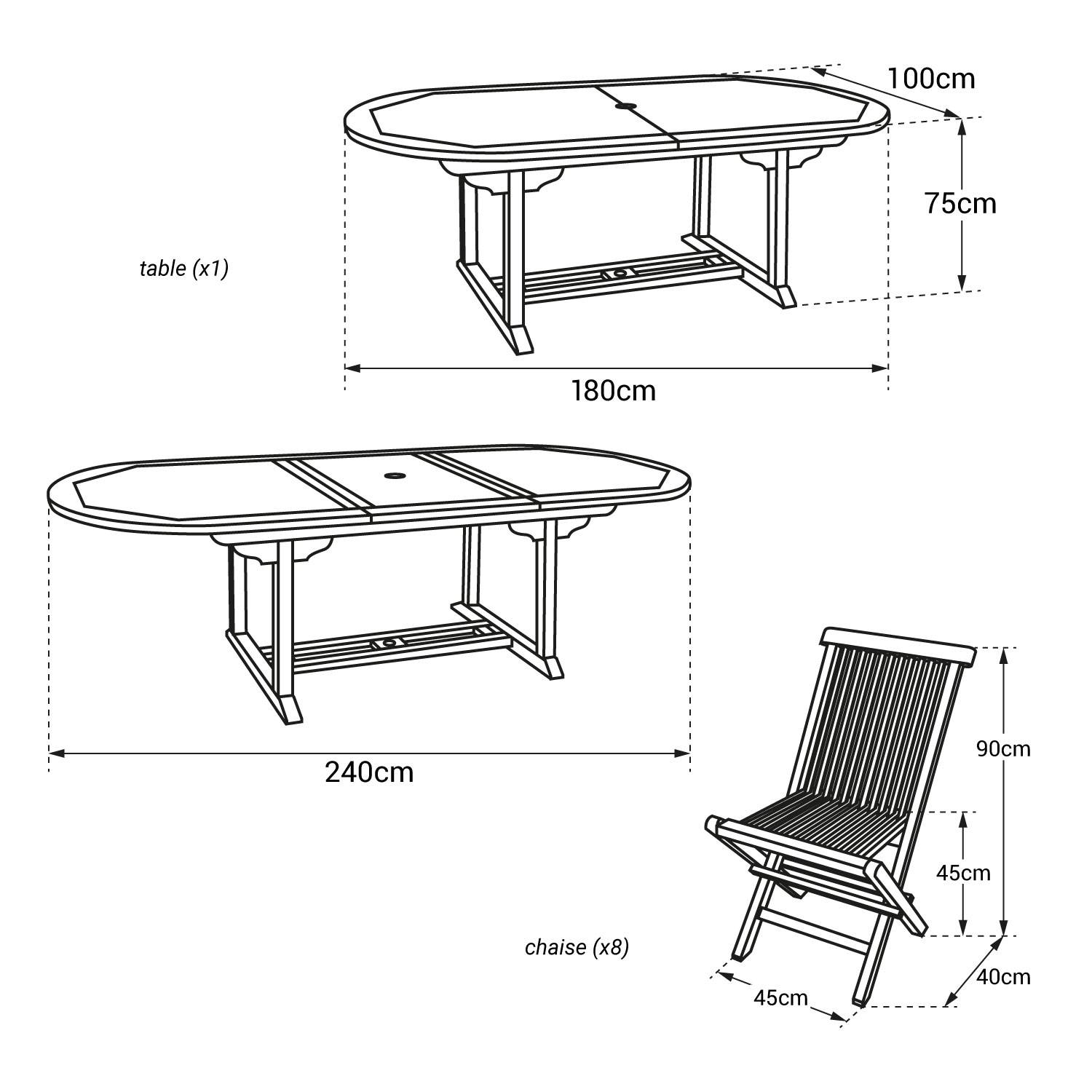 Salon de jardin LOMBOK - table extensible ovale en teck - 8 places
