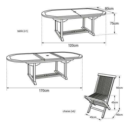 Salon de jardin LOMBOK - table extensible ovale en teck - 6 places