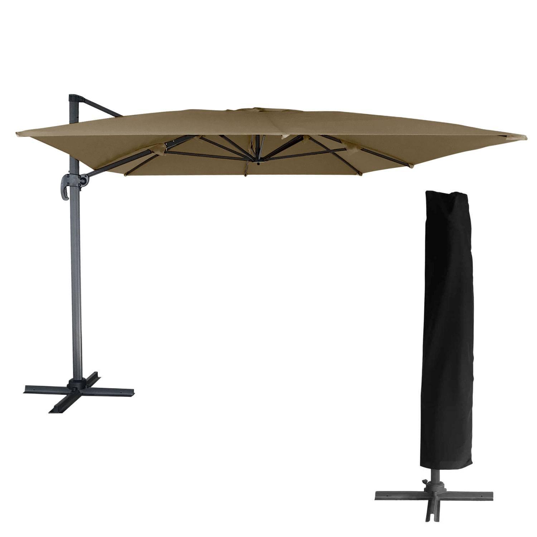 Parasol d port inclinable rectangulaire 3x4m taupe housse Parasol deporte rectangulaire 3x4m