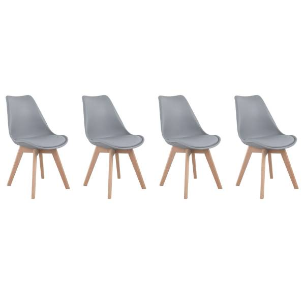 chaises style scandinave grises nora coussins lot de 4. Black Bedroom Furniture Sets. Home Design Ideas