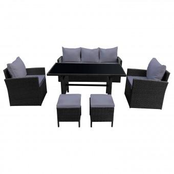 Salon de jardin AJACCIO en résine tressée noir 7 places - coussins gris