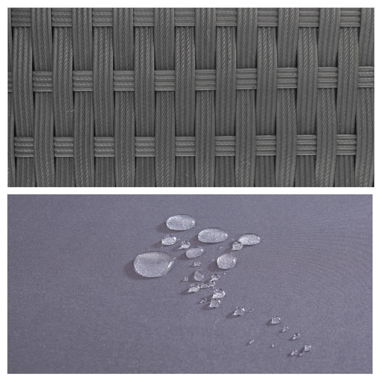 Salon de jardin AJACCIO en résine tressée gris 7 places - coussin gris