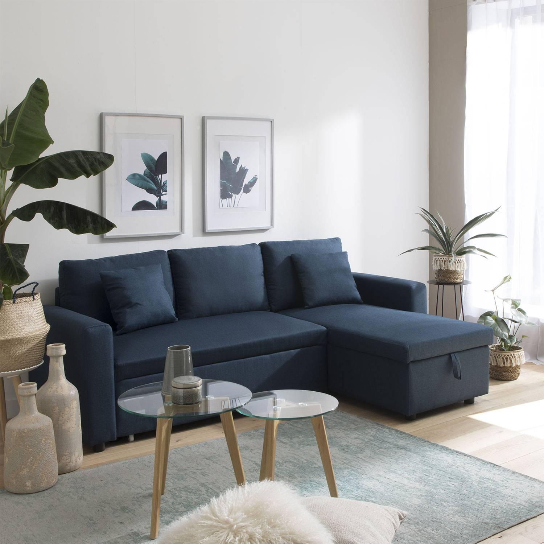 Canapé d'angle convertible CLARK 3 places bleu