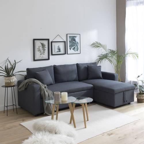 Canapé d'angle convertible CLARK 3 places gris chiné