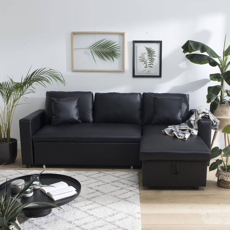 H Et H Canapé canapé d'angle convertible simili cuir 3 places noir avec