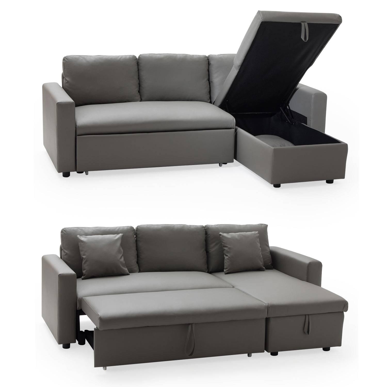 H Et H Canapé canapé d'angle convertible simili cuir 3 places taupe avec
