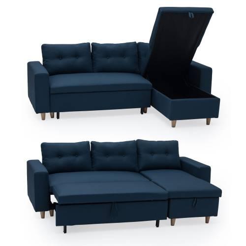 Canapé d'angle convertible WADE 3 places bleu