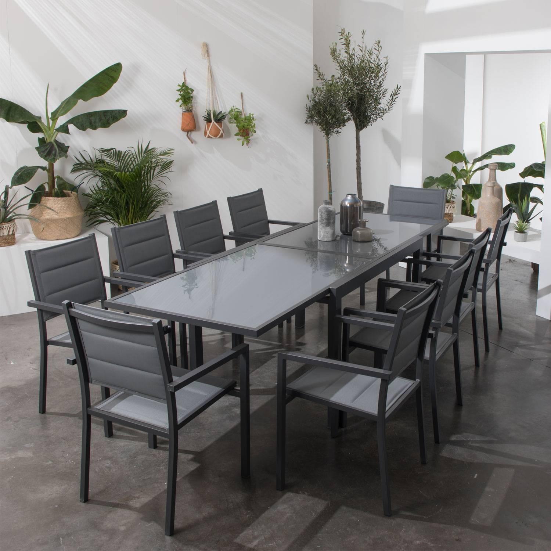 Salon de jardin LAMPEDUSA extensible en textilène gris 10 places - aluminium anthracite