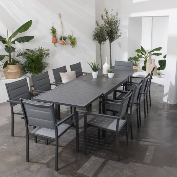 Salon de jardin extensible aluminium et textilène gris 10 places