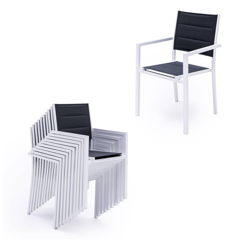 Salon de jardin VENEZIA extensible en textilène gris 10 places - aluminium blanc