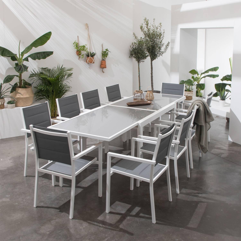 Salon de jardin extensible aluminium blanc, textilène gris ...