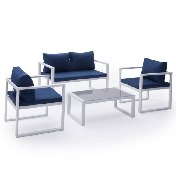Salon de jardin bas aluminium blanc et coussins bleu 4 places