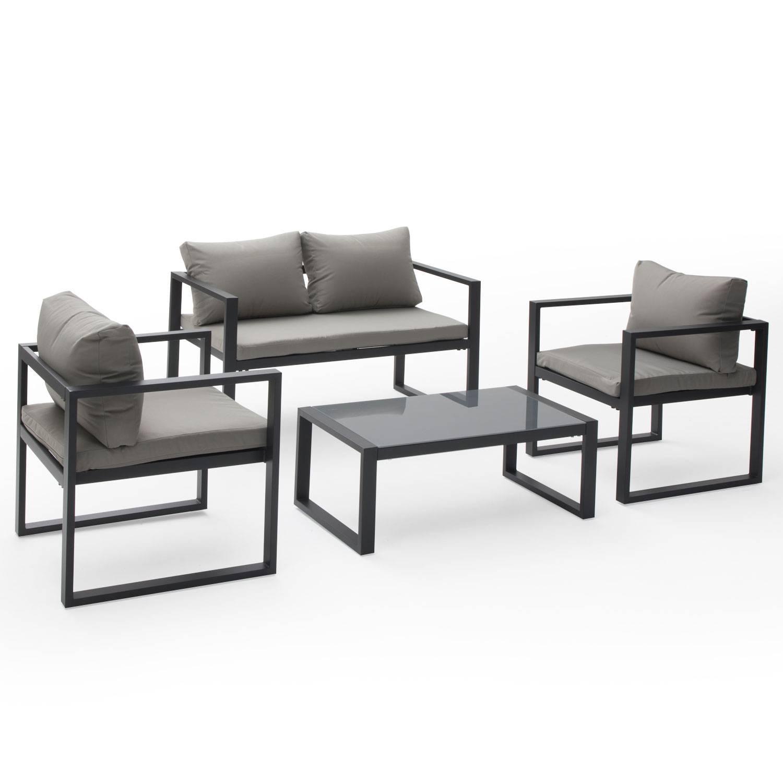 Salon de jardin IBIZA en tissu gris 4 places - aluminium anthracite