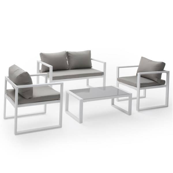 Salon de jardin bas aluminium blanc et coussins gris 4 places