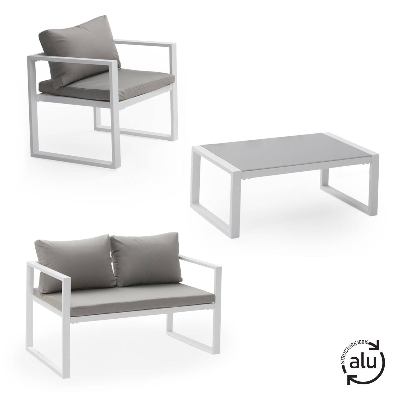 salon de jardin bas aluminium blanc et coussins gris 4 places. Black Bedroom Furniture Sets. Home Design Ideas