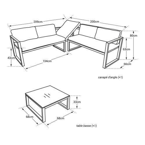 Salon de jardin modulable IBIZA en tissu gris 4 places - aluminum anthracite