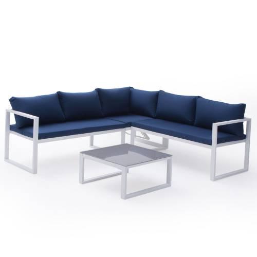 Salon de jardin modulable IBIZA en tissu bleu 4 places - aluminum blanc